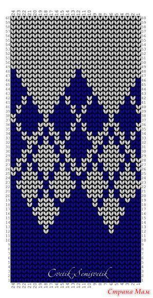 """Новый Жаккард """"Переход из цвета в цвет"""". Схема для вязания и перфокарта. Раппорт узора: 12 петель в ширину и 36 рядов в высоту. Для смены 2-х цветов при вязании кофт, пуловеров, шапочек."""