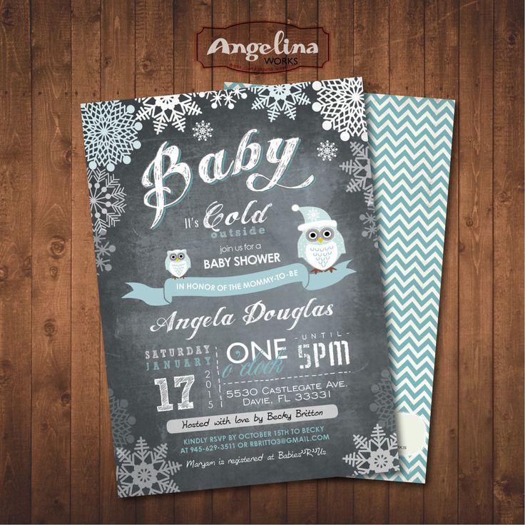 Winter Baby Shower Owl Invitation Chalkboard Snowflakes