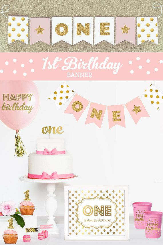 1st Birthday Banner Decor First Birthday Banner ONE by ModParty