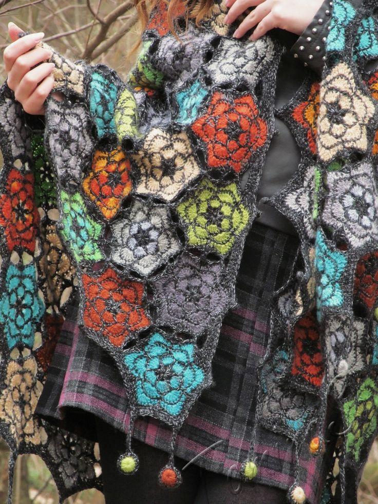 """""""Forest echo"""" (crochet shawl, wrap, motif lace, wool shawl, crochet drops, crochet hexagon)"""