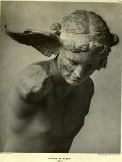 """In Greek mythology, Hypnos (Ancient Greek: Ὕπνος, """"sleep"""") was the personification of sleep. His twin was Thánatos (Θάνατος, """"death""""); their mother was the primordial goddess Nyx (Νύξ, """"night""""). His palace was a dark cave where the sun never shone. At the entrance were a number of poppies and other hypnagogic plants. His dwelling had no door or gate so that he might not be awakened by the creaking of hinges."""
