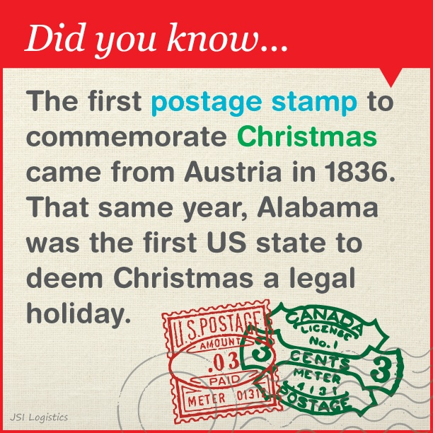 Alabama was the first state to deem Christmas a legal holiday!