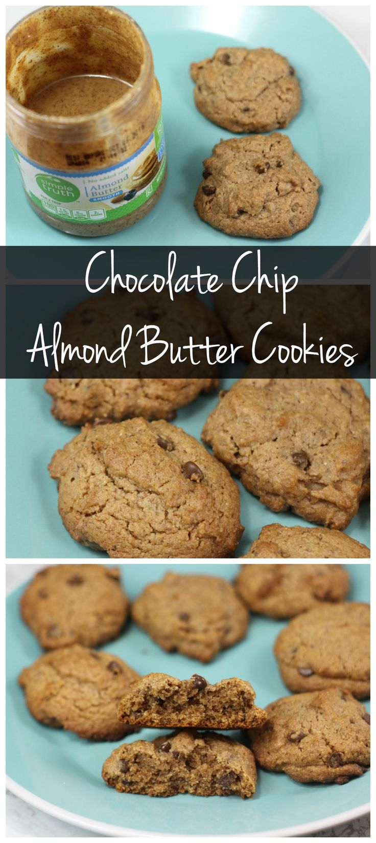 These almond butter chocolate chip cookies are made with coconut oil ...