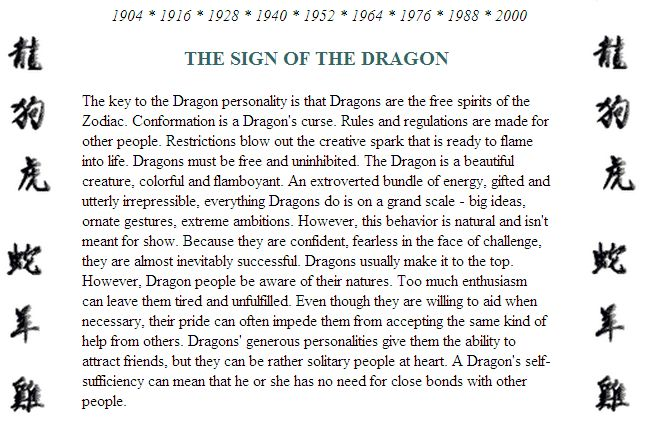 characteristics of people born in the year of the dragon - Google Search