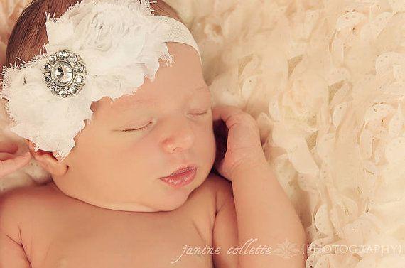 Baby Headband..Baby Girl Headband..Newborn Headband..Infant Headband..Baby Bow Headbands- WHITE rosette headband. on Etsy, $7.95