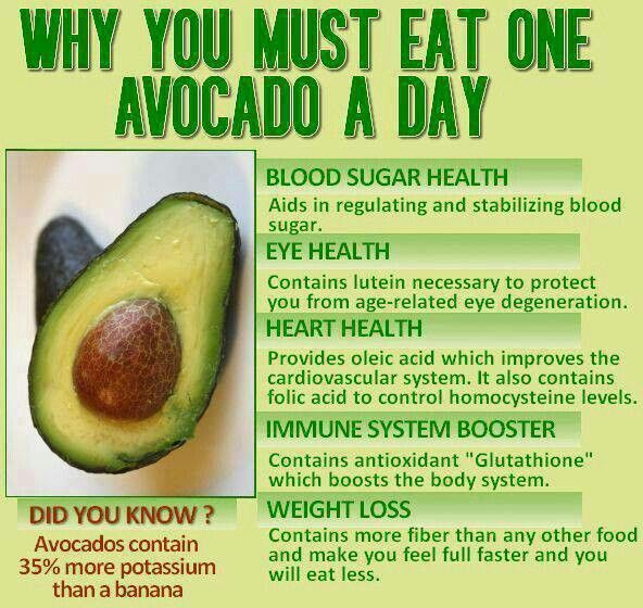 eat one avocado(butter fruit) a day. good to know..