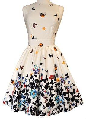 Beautiful White Butterfly Tea Dress
