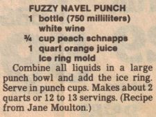Fuzzy Navel Punch Recipe Clipping