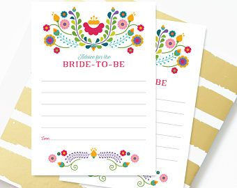 Instant Download, Advice for the Bride | Mexican Fiesta Bridal Shower Game | Mexican Fiesta | Julieta