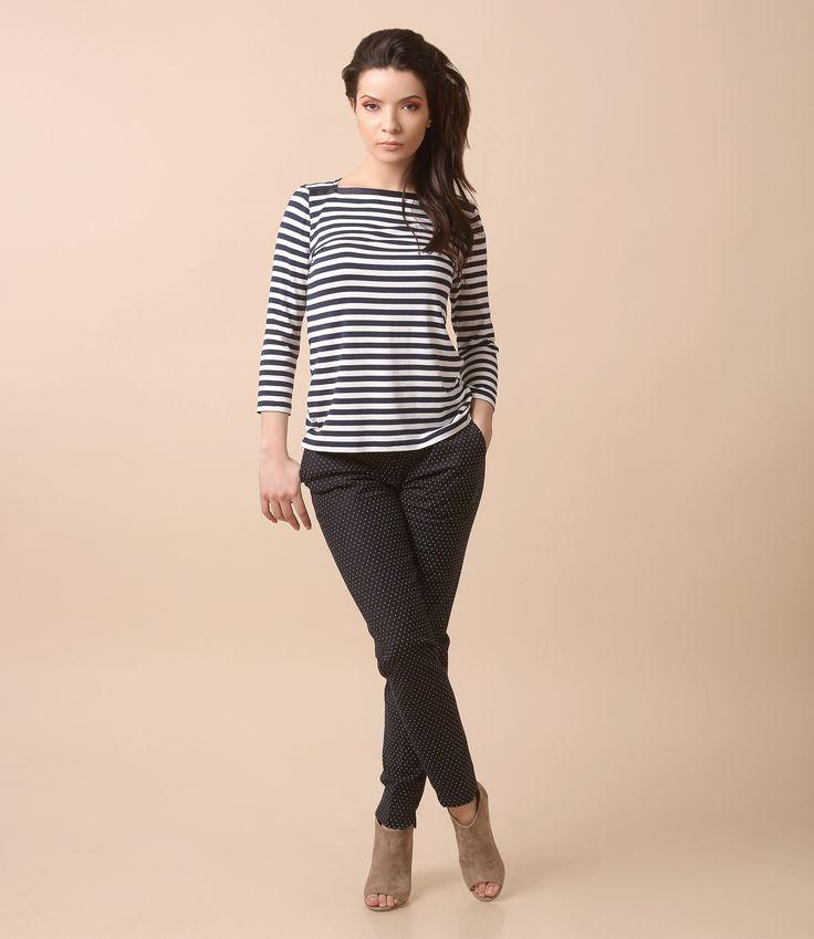 Stripes & dotts together spring17 | YOKKO #casual #outfit #stripes #dotts #blue #white #trousers #blouse #spring17 #yokko #fashion