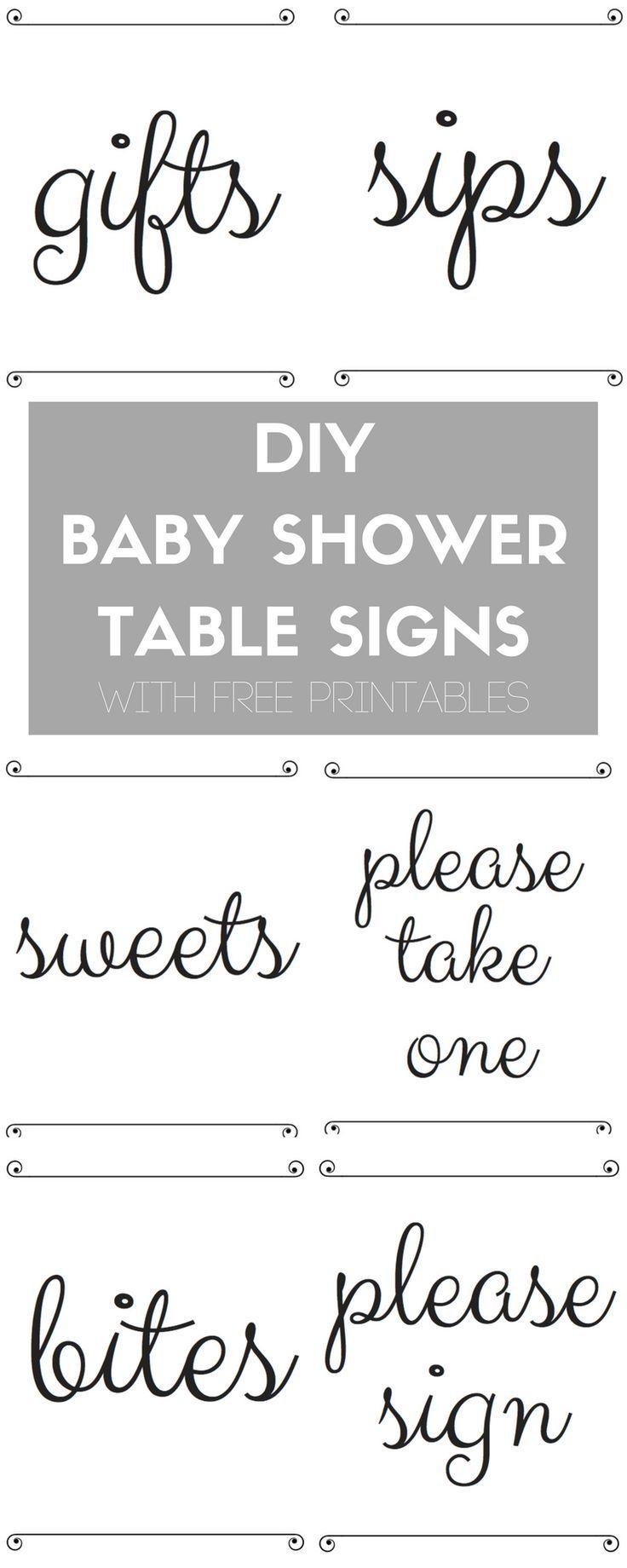 Panneaux de table de douche bébé bricolage avec imprimables gratuites