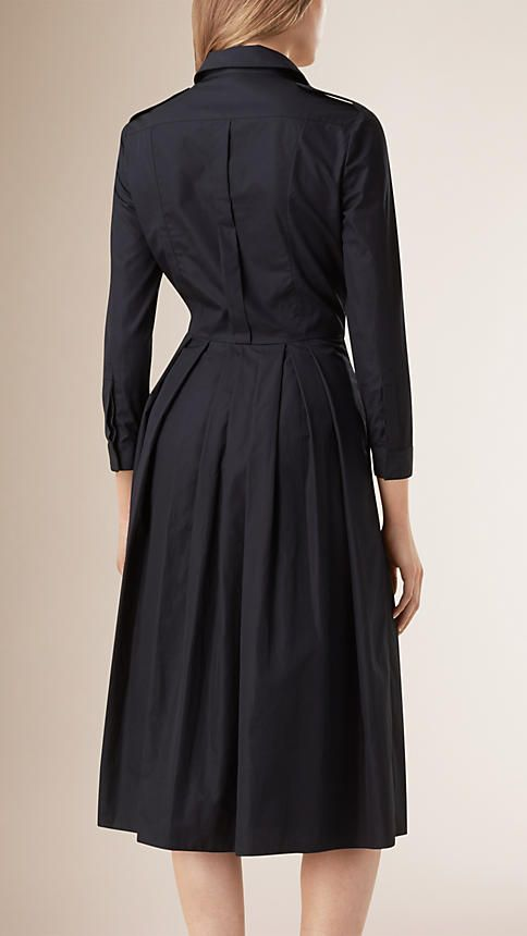 Ink Check Detail Pleated Cotton Shirt Dress - Image 2