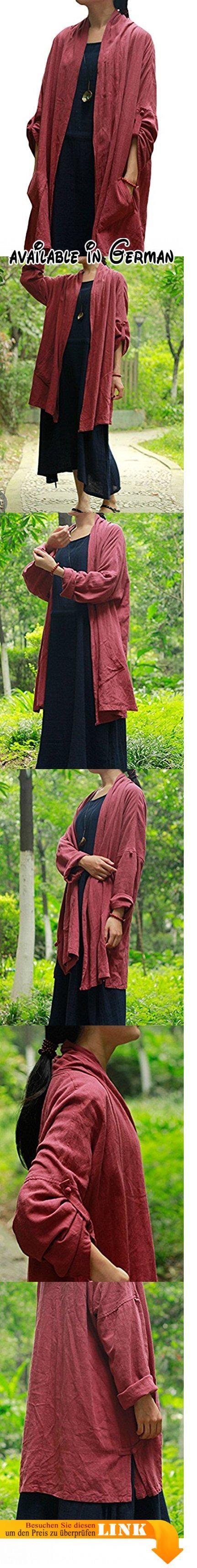 MatchLife Damen Langarm Trenchcoats Cardigan Irregulär Mantel Style2 Rot. Style1:Länge(front):92cm,Länge(front):120cm,Cuff:32cm. Style2:Länge:80cm,Fehlschlag:124cm,Cuff:32cm. Casual style,langarm,stehkragen,cardigan design,seite design,vintage pattern.. Handwäsche oder Maschinenwäsche. Notiz:Cuff:32cm #Apparel #OUTERWEAR