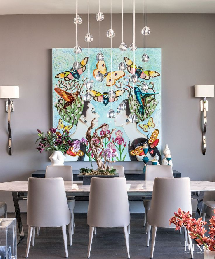 A Commanding Piece By Sarah Ashley Longshore Hangs In The Dining Room LuxeDaily