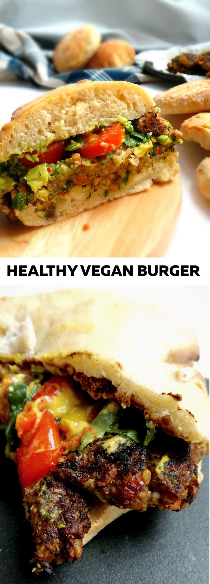 Healthy vegan burger with mushrooms and avocado sauce