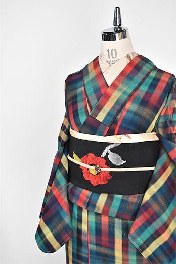 北欧絵本のようなカラフルチェックモダンなウール単着物 - アンティーク着物・リサイクル着物のオンラインショップ 姉妹屋