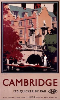 I think a series of these posters would look good over my couch this year! :D Cambridge : It's Quicker by Rail : LNER.