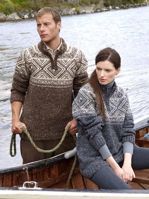 """FAIRISLE IRISH WOOL - DONEGAL TWEED MAN'S SWEATER: K4185                          This Irish man's sweater comes to you knit in 100% Donegal wool  on the North West Coast.  This particular wool has fleck throughout which gives it its very own Donegal tweed look.  This man's """"V"""" neck jumper has a high half zip collar.    Colours Available: Charcoal/Light Grey Mix and Brown.    Sizes Available: Small to XX-Large"""
