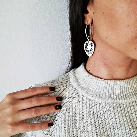 Lagina Boho Hoop Earrings  Lagina handmade hoop earrings made of gold and silver plated brass hoops and gold and silver plated zamak drops. Choose your favorite or 2 colors Set!!! Total length from top of earring hoop to bottom: 2.36 / 6 cm.  Theyre lightweight enough for day-long wear.