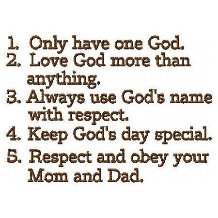 Ten Commandments for Teenagers | Ten Commandments for Kids Embroidery ...