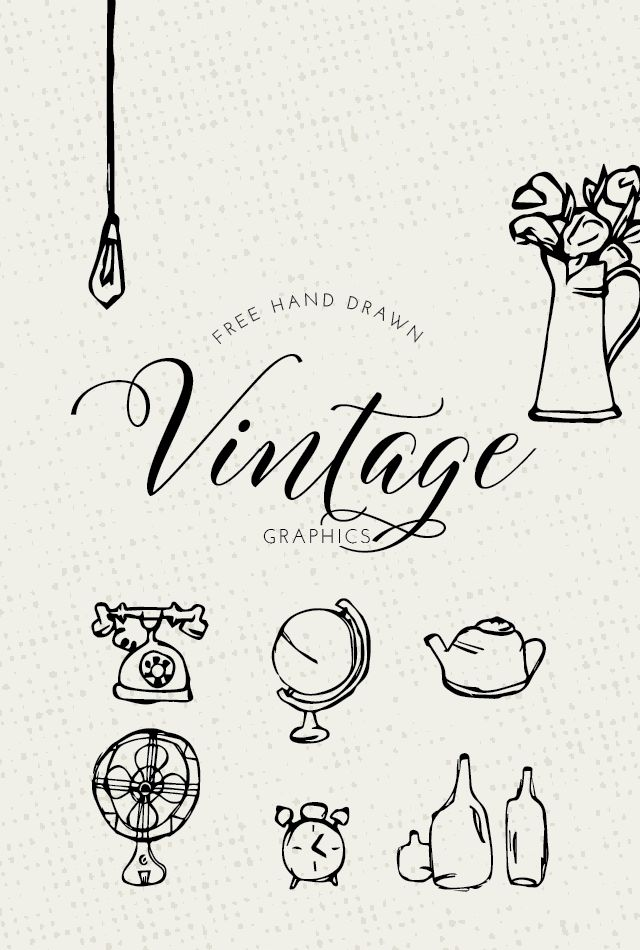 FREE Vintage Graphics - Designs By Miss Mandee. These hand drawn doodles are simple and quaint. They would be great as part of a cozy cottage-themed design or vintage pattern!