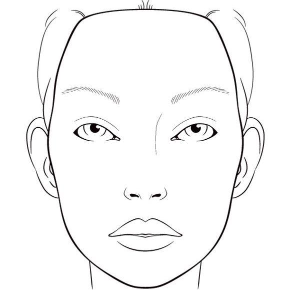 Face charts, vierge, blank, visage, portrait, base, essai