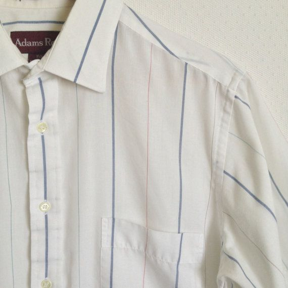 80s Mens White Striped Shirt // Vintage by DizzyDreamerVintage