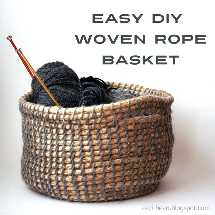 DIY Woven Rope Basket: an easy weave using yarn, a hair clip (or embroidery needle) and hemp rope.