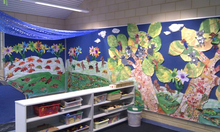 Craft activities with Kindergarten children aged 3 and 4 involving drawing, tracing and cutting. These were presented as a mural displaying an Australian animal theme.  The mural extended into the camping theme area.