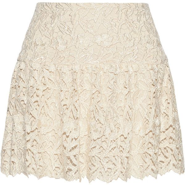 Alice + Olivia Jayce guipure lace mini skirt (£130) ❤ liked on Polyvore featuring skirts, mini skirts, cream, stretchy skirt, short skirts, stretch mini skirt, cream lace mini skirt and pink skirt