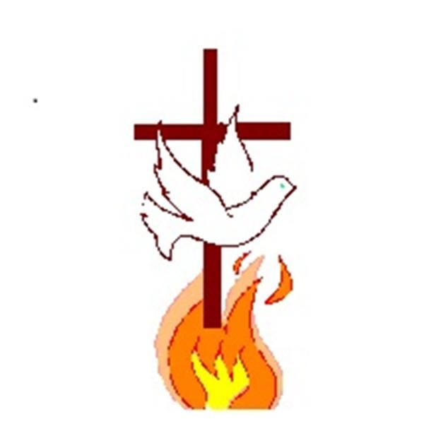 Flame of Fire Ministries logo with dove, flame, and a cross, which probably represents Tree of Life.