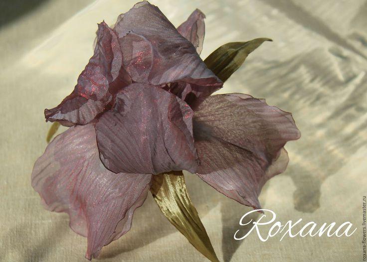 """Купить Ирис """"Тайна утренней зари"""" - розовый, серо-розовый, ирис, ирисы, ирис из ткани"""