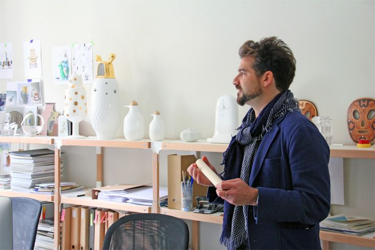 jaime hayon studio visit offers overview of the workspace that is very homelike with its own kitchen, a common room with library and large sitting area.