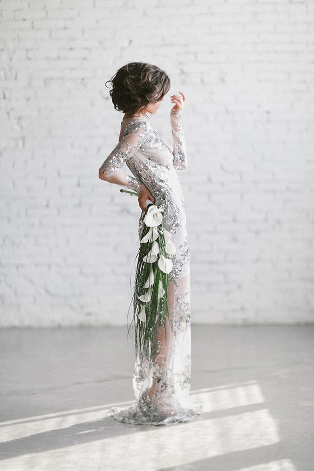 beautiful vintage bride with sequin and bead dress & calla lily bouquet