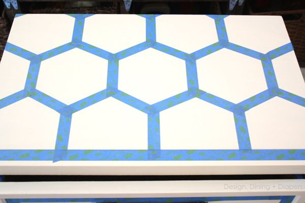 DIY Honeycomb Side Table Using ScotchBlue Painters Tape - Design, Dining + Diapers