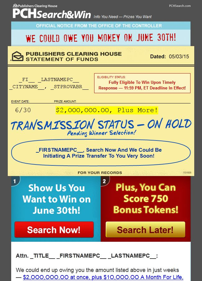 how do u know if you win cash on publisher clearing house