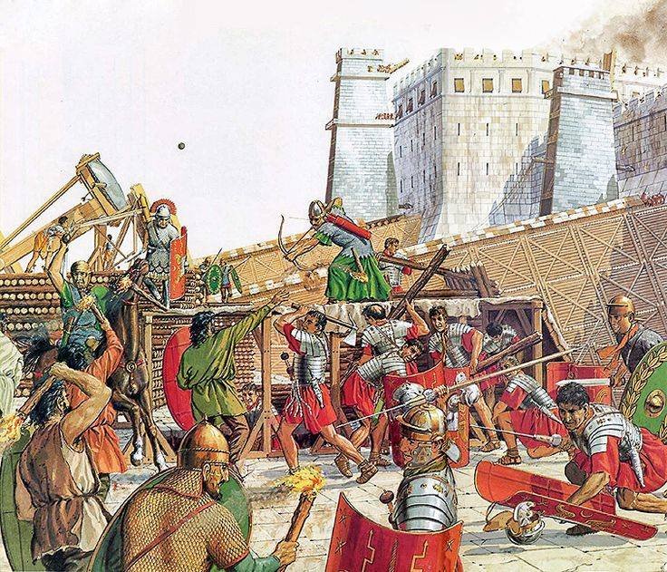 The siege of Jerusalem ~ Peter Connolly Jewish rebels repeatedly launched assaults against the Romans as they besieged the city, destroying siege equipment and harassing work parties.