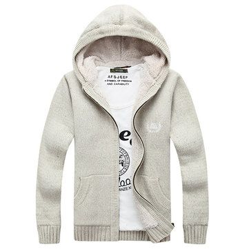 Men's Knitted Polar Fleece Hooded Sweaters Thicken Slim Cut Casual Cardigans Style Opening at Banggood