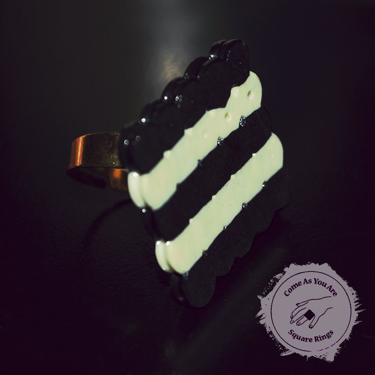 Striped Square Ring - Also available in pink/black, purple/black, pink/white, purple/pink, purple/white.