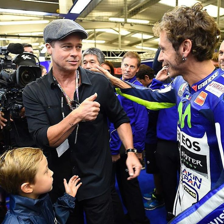 """""I'LL GIVE EVERYTHING TO BE LIKE VALENTINO ROSSI!""-Brad Pitt about @valeyellow46 #bradpitt #love46 #lovemotogp"""