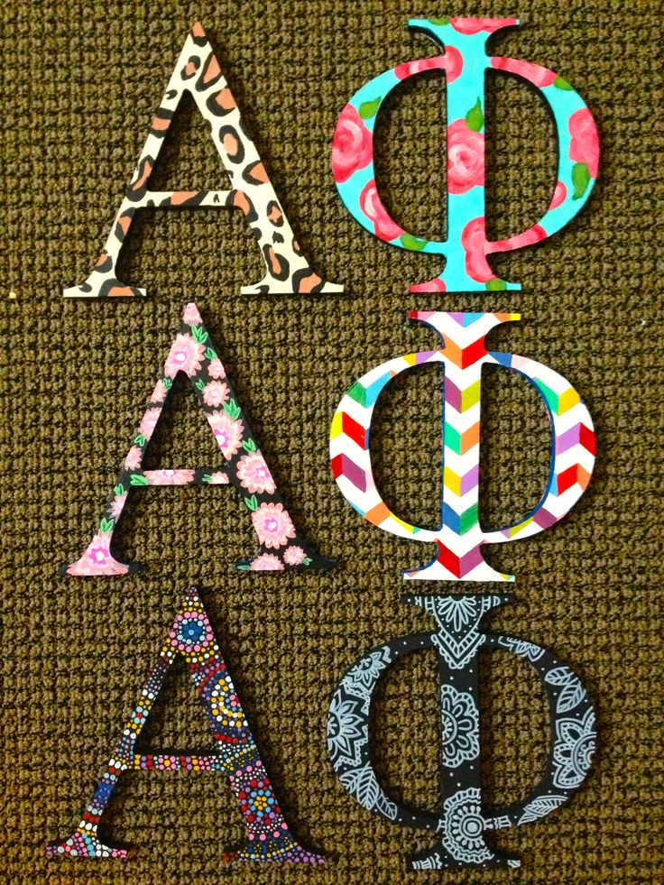 hand painted greek alpha phi letters for our littles! double sided so that they get two different prints!