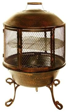 Cast Iron Round Chimenea w Grill Door Front traditional-chimineas