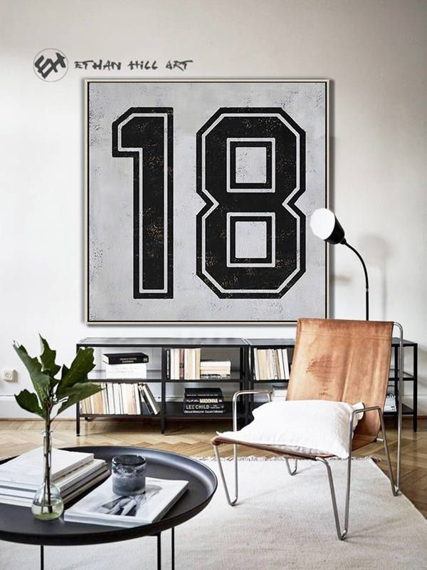 Black and White Favorate numbers, Lucky number 18 Painting Large Canvas Art, hand painted Large Wall Art. FREE shipping -Ethan Hill Art #Z20