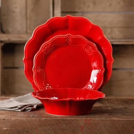 The Pioneer Woman Paige 12-Piece Crackle Glaze Dinnerware Set - Walmart.com  Love, love, LOVE her product line! I need these red plates in a bad way!!!