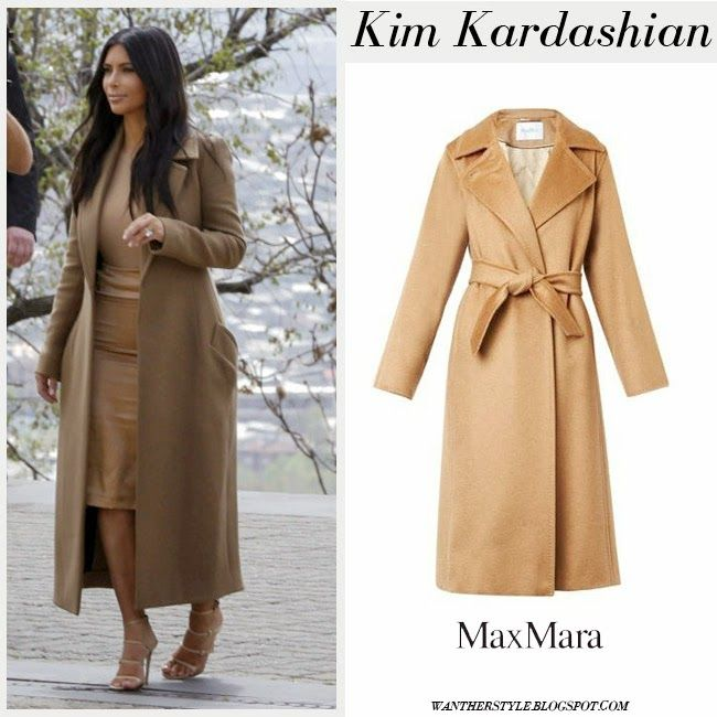 Kim Kardashian in camel wool long coat with strappy sandals