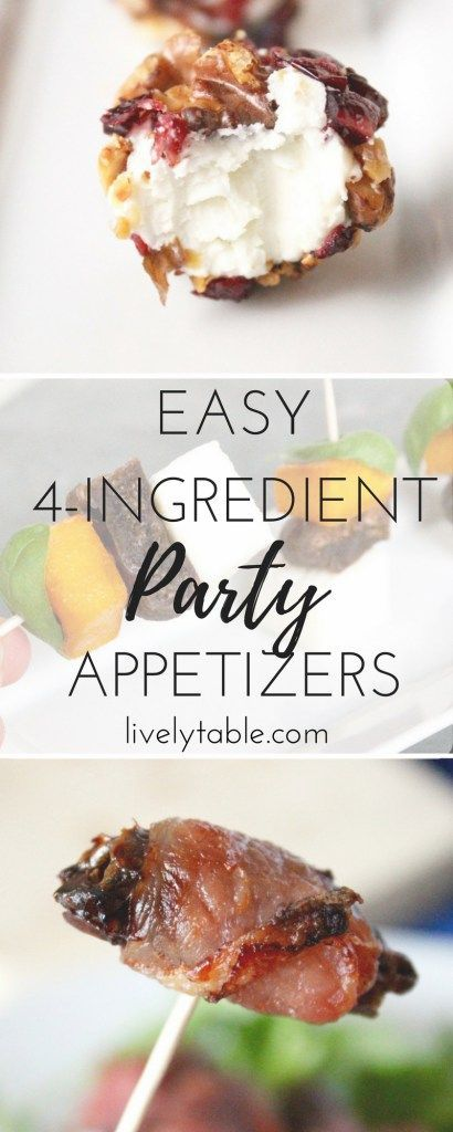 Easy, elegant party appetizers with 5 ingredients or less. They're great for holiday parties or football watching parties! via livelytable.com