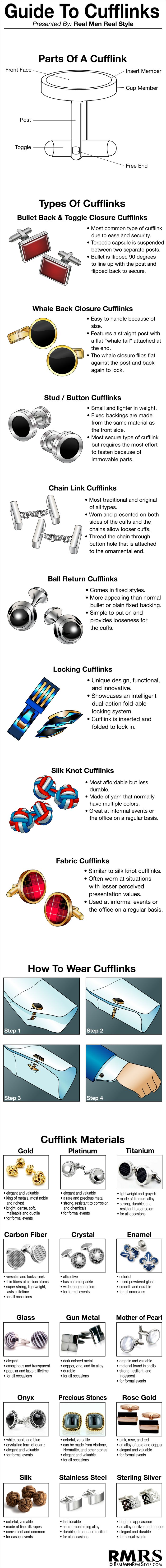 Ultimate Guide to Cufflinks Infographic | Man's Guide to Cuff-links | Cufflink Visual Chart (via @antoniocenteno)                                                                                                                                                     Más