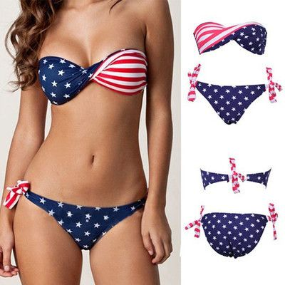 Sexy Stars Stripes USA Flag Padded Twisted Bandeau Bikini Swimwear Swimsuit US $11.99