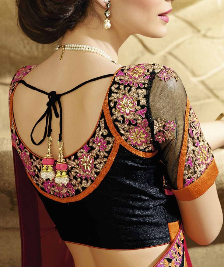 Gorgeous sheer sari or saree blouse. Indian fashion.                                                                                                                                                      More