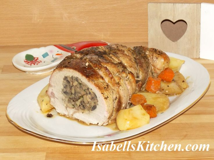 Mushroom and cheese stuffed pork roast